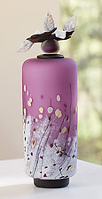 Winter Wildflowers Tall Cylinder in Violet by Eric Bladholm (Art Glass Vessel)