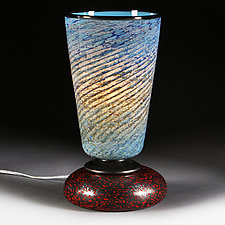 Centered Cerulean Table Lamp - Studio Prototype by Eric Bladholm (Art Glass Table Lamp)