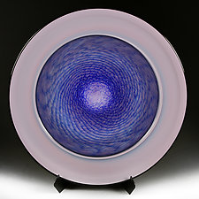Mauve Mandala Studio Prototype Platter with Stand/Base by Eric Bladholm (Art Glass Platter)
