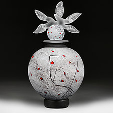 Zimska Jabuka Luksuz (Winter Apple Deluxe) White Sphere by Eric Bladholm (Art Glass Vessel)
