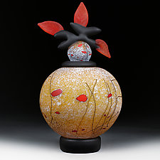 Osinni Yabluka (Autumn Apples) Sphere by Eric Bladholm (Art Glass Bottle)