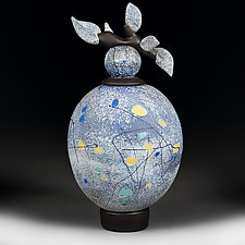 Mozayny Polya (Mosaic Fields Series) Pale Persian Vessel by Eric Bladholm (Art Glass Vessel)