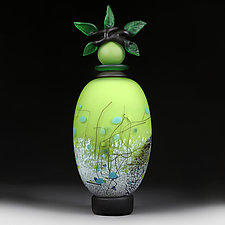 Zeleni Kvity Yaskravo (Green Flowers Bright) by Eric Bladholm (Art Glass Vessel)