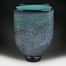 Teal Tapestry Flat-sided Vase Studio Sample by Eric Bladholm (Art Glass Vase)