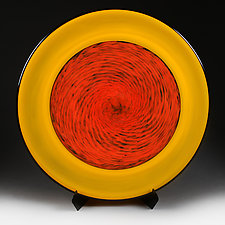Solor Sun Spot Studio Sample Platter with Stand/Base by Eric Bladholm (Art Glass Platter)