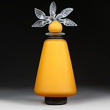 Novi Zivot Luksuz (New Life Deluxe) Saffron Satin Tapered Cylinder by Eric Bladholm (Art Glass Vessel)
