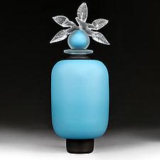 Novi Zivot Luksuz (New Life Deluxe) Adriatic Aqua Satin Cylinder by Eric Bladholm (Art Glass Vessel)