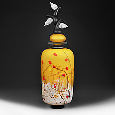 Izrazi Zivota (Expressions of Life) Satin Zoloty (Gold) Abstract II by Eric Bladholm (Art Glass Vessel)