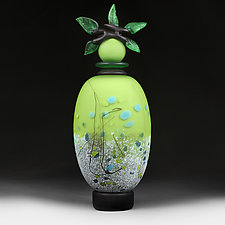 Zeleni Kvity Yaskravo (Green Flowers Bright) by Eric Bladholm (Art Glass Vessel)