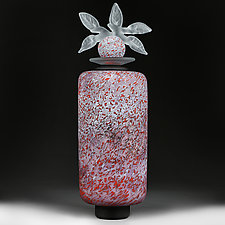 Tsvitinnya Vyshn (Cherry Blossoms) Experimental Studio Sample Tall Cylinder by Eric Bladholm (Art Glass Vessel)