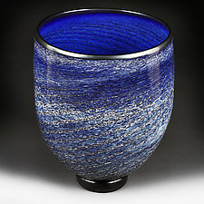 Celestial Cobalt Studio Sample Large Vase by Eric Bladholm (Art Glass Vase)