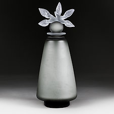 Novi Zivot Luksuz (New Life Deluxe) Smoke Tapered Cylinder with Experimental Finish by Eric Bladholm (Art Glass Vessel)