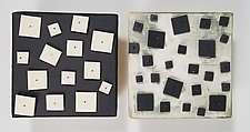 Two in Black and White by Lori Katz (Ceramic Wall Sculpture)