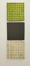 Grid Triptych by Lori Katz (Ceramic Wall Sculpture)