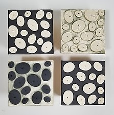 Black and White Disks by Lori Katz (Ceramic Wall Sculpture)