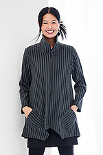 Striped Sassy Cowl Jacket by F.H. Clothing Co.  (Knit Jacket)