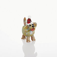 Christmas Canine by Lucky Ducks Glass (Art Glass Ornament)