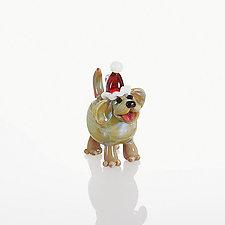 Christmas Canine by Lucky Ducks Glass (Art Glass Ornament)