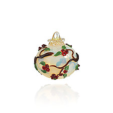 Boughs of Holly by Lucky Ducks Glass (Art Glass Ornament)