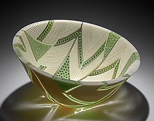 Arrows Bowl in Green and Cream by Patti & Dave Hegland (Art Glass Bowl)