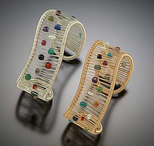Multi-Color Wave Cuff by Tana Acton (Metal & Stone Bracelet)