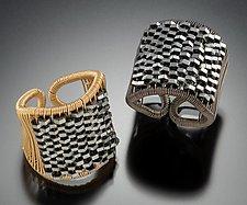 Niobium Plaited Hematite Tall Ring by Tana Acton (Silver & Stone Ring)