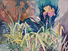 Lone Iris by Sandra Humphries (Watercolor Painting)