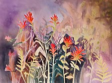 Forest with Indian Paintbrush by Sandra Humphries (Watercolor Painting)