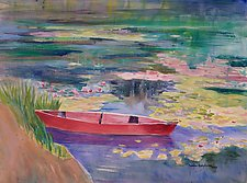 Red Boat on Spring Pond by Sandra Humphries (Acrylic Painting)