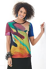 Sgraffito Boxy Tee by Andrea Geer (Knit Top)