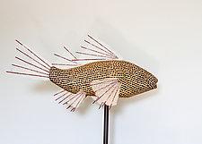 Monochrome Koi Lamp by Lara Fisher (Mixed-Media Lamp)