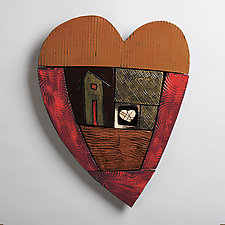 Happy Heart Series 3 by Rhonda Cearlock (Ceramic Wall Sculpture)