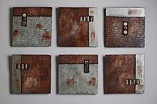 Earth Squares by Rhonda Cearlock (Ceramic Wall Sculpture)