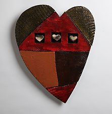 Happy Heart Series 2 by Rhonda Cearlock (Ceramic Wall Sculpture)