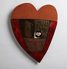 Happy Heart Series 3 by Rhonda Cearlock (Ceramic Wall Sculpture)