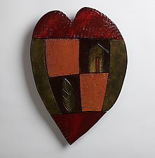 Happy Heart Series 1 by Rhonda Cearlock (Ceramic Wall Sculpture)
