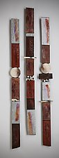 Large Story Sticks in Silver and Black by Rhonda Cearlock (Ceramic Wall Sculpture)