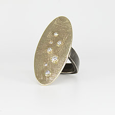 Large Gold Oval Ring with Diamonds by Leann Feldt (Gold, Silver & Diamond Ring)
