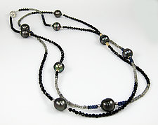Tahitian Pearl and Black Spinel Necklace by Leann Feldt (Gold, Silver, Pearl & Stone Necklace)