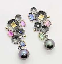 Gemstone Cups Earrings by Leann Feldt (Gold, Silver & Stone Earrings)