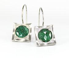 Contemporary Rose Cut Emerald and Diamond Earrings by Leann Feldt (Palladium & Stone Earrings)