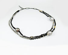 Double Strand Necklace with Tahitian Pearls by Leann Feldt (Gold, Silver, Pearl & Stone Necklace)