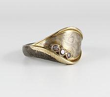 Mokume Gane & Cognac Diamond Ring by Leann Feldt (Gold, Silver & Stone Ring)