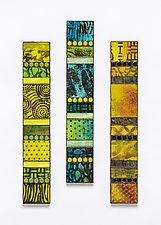 Yellow Tones Vertical Mosaics by Patty Carmody Smith (Art Glass Wall Sculpture)