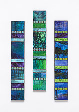 Blue Tones Vertical Mosaics by Patty Carmody Smith (Art Glass Wall Sculpture)