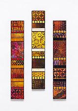 Warm Tones Vertical Mosaics by Patty Carmody Smith (Art Glass Wall Sculpture)