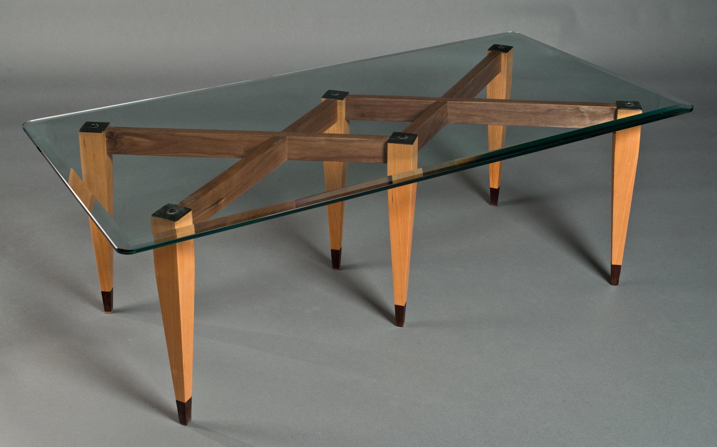 Picture of: Cherry Six Leg Table With Glass Top By David Kellum Wood Coffee Table Artful Home