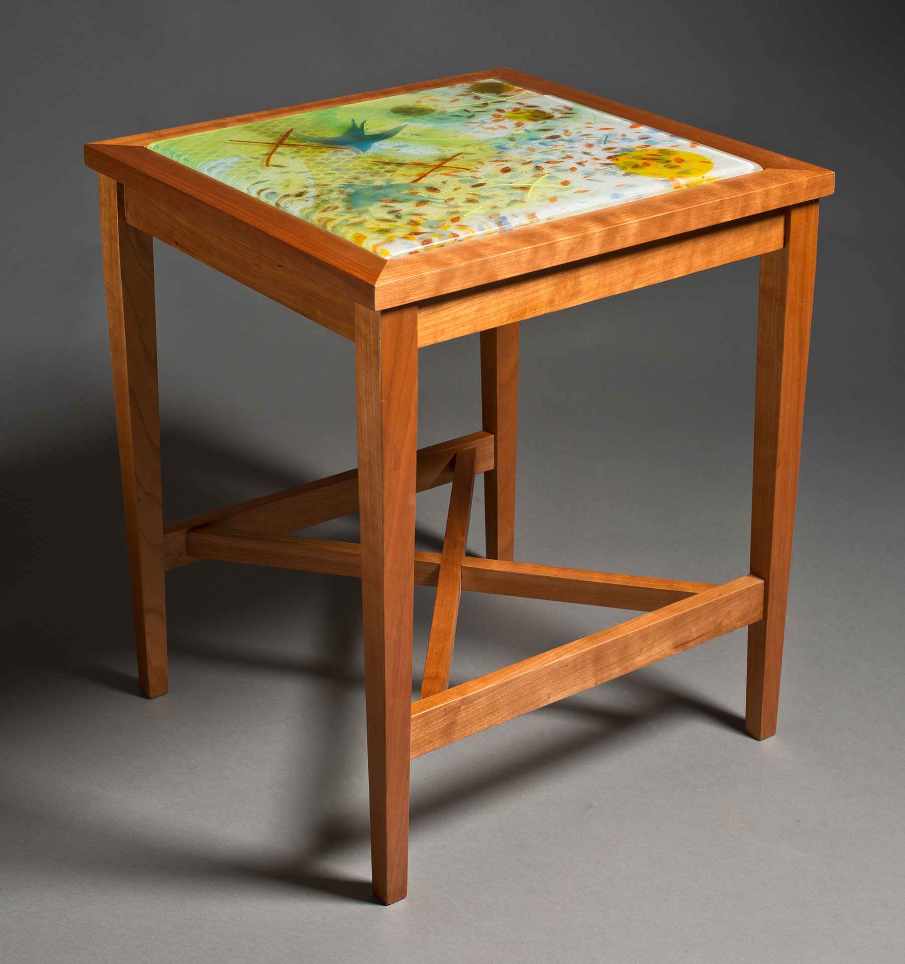 Soaring Swallows Glass Top Table By David Kellum Wood Glass Side Table Artful Home