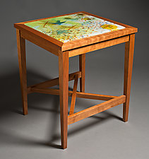 Soaring Swallows Glass Top Table by David Kellum (Wood & Glass Side Table)