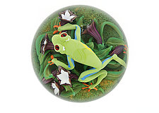 Red Eyed Tree Frog Paperweight by Clinton Smith (Art Glass Paperweight)